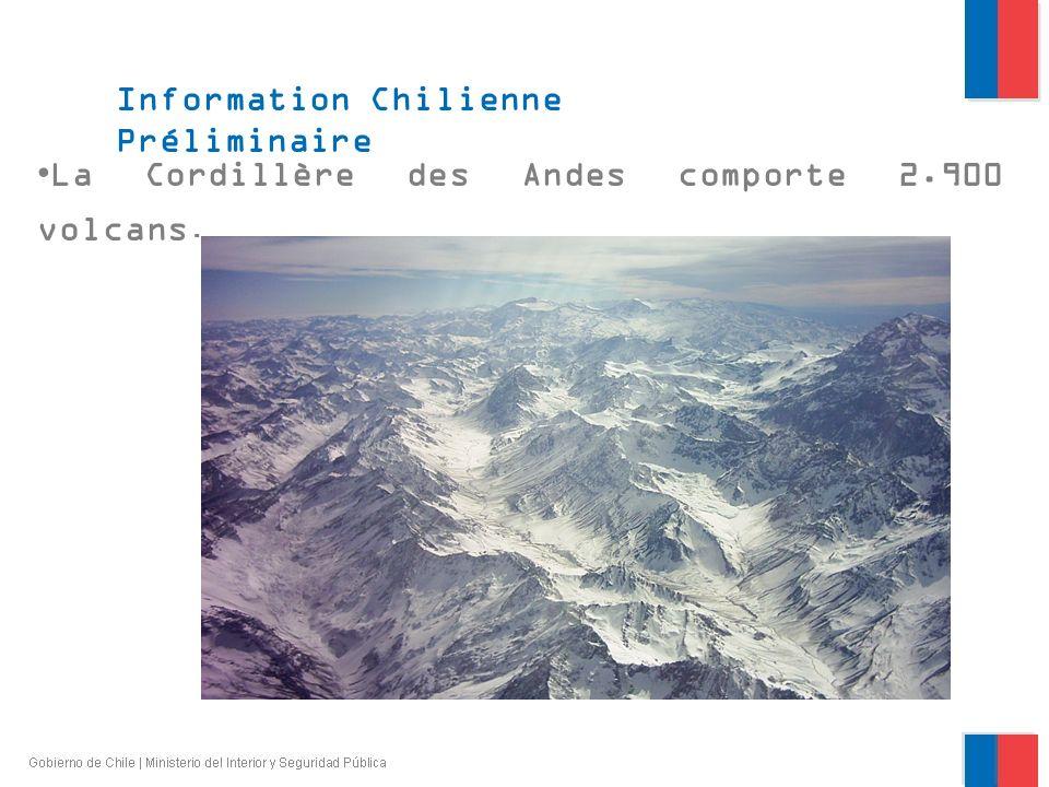 La Cordillère des Andes comporte 2.900 volcans. Information Chilienne Préliminaire