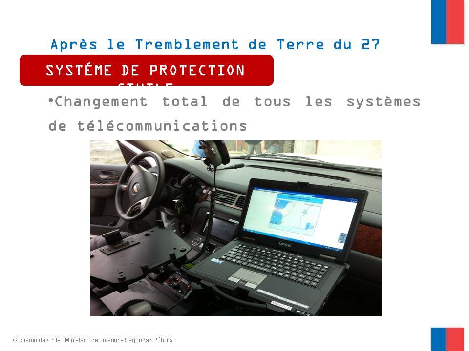 Après le Tremblement de Terre du 27 février 2010 Changement total de tous les systèmes de télécommunications SYSTÉME DE PROTECTION CIVILE