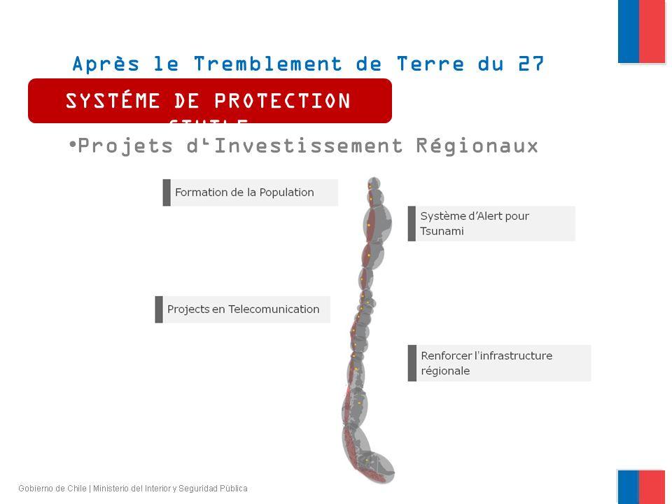 Après le Tremblement de Terre du 27 février 2010 Projets dInvestissement Régionaux SYSTÉME DE PROTECTION CIVILE