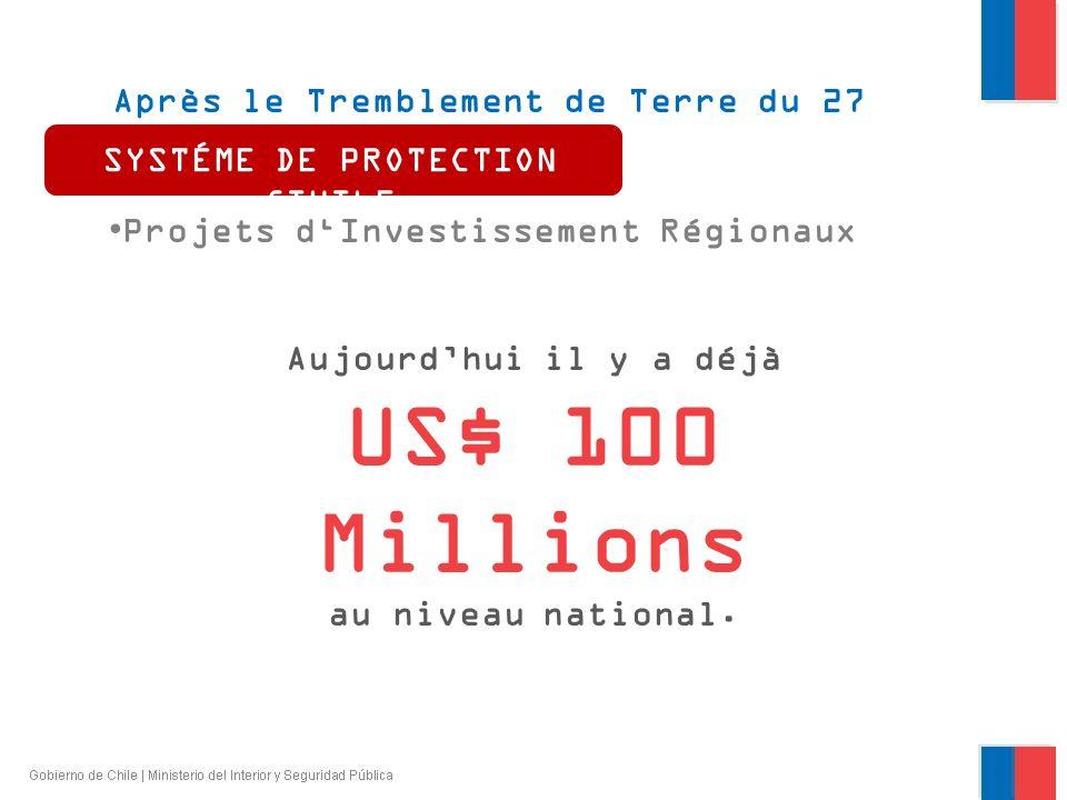 Après le Tremblement de Terre du 27 février 2010 Projets dInvestissement Régionaux SYSTÉME DE PROTECTION CIVILE Aujourdhui il y a déjà US$ 100 Million