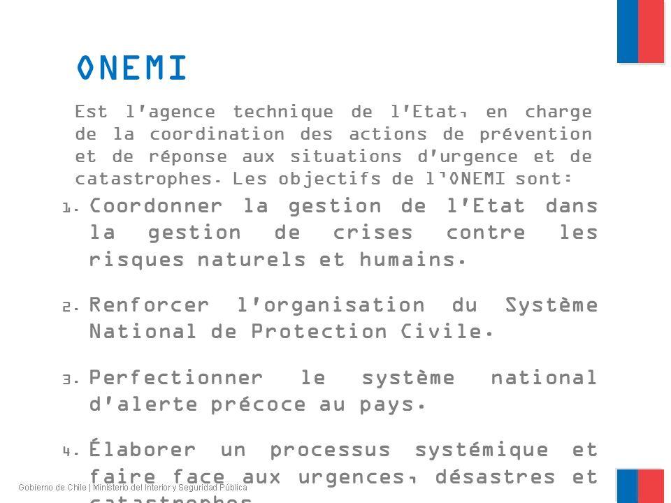 ONEMI Est l'agence technique de l'Etat, en charge de la coordination des actions de prévention et de réponse aux situations d'urgence et de catastroph