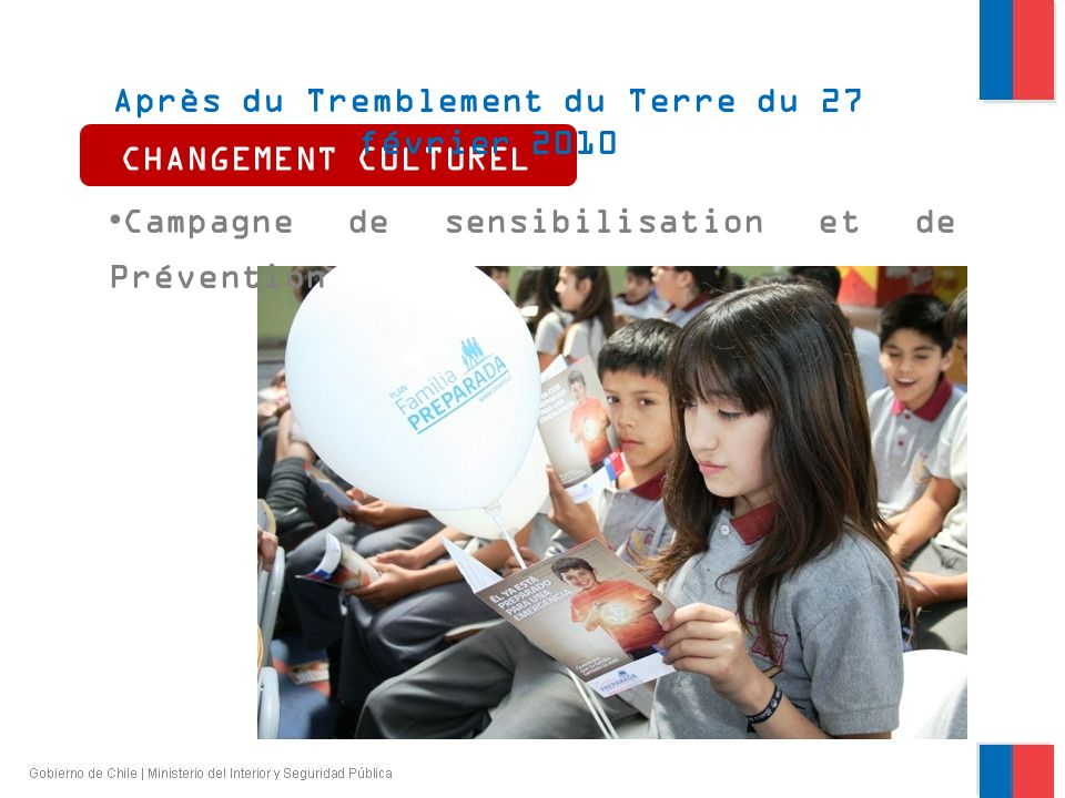 CHANGEMENT CULTUREL Après du Tremblement du Terre du 27 février 2010 Campagne de sensibilisation et de Prévention