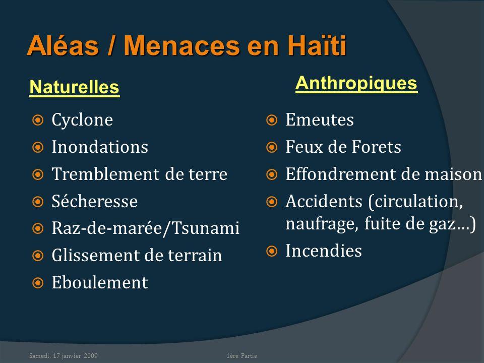 Samedi, 17 janvier 2009 Aléas / Menaces en Haïti Cyclone Inondations Tremblement de terre Sécheresse Raz-de-marée/Tsunami Glissement de terrain Eboule