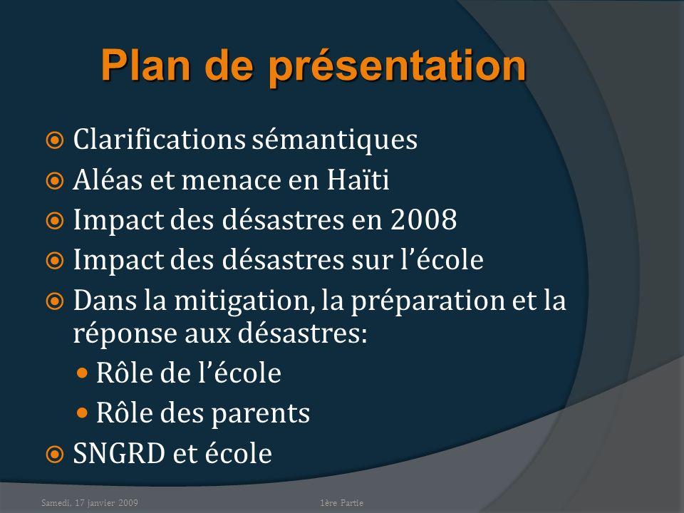 Samedi, 17 janvier 2009 Plan de présentation Clarifications sémantiques Aléas et menace en Haïti Impact des désastres en 2008 Impact des désastres sur