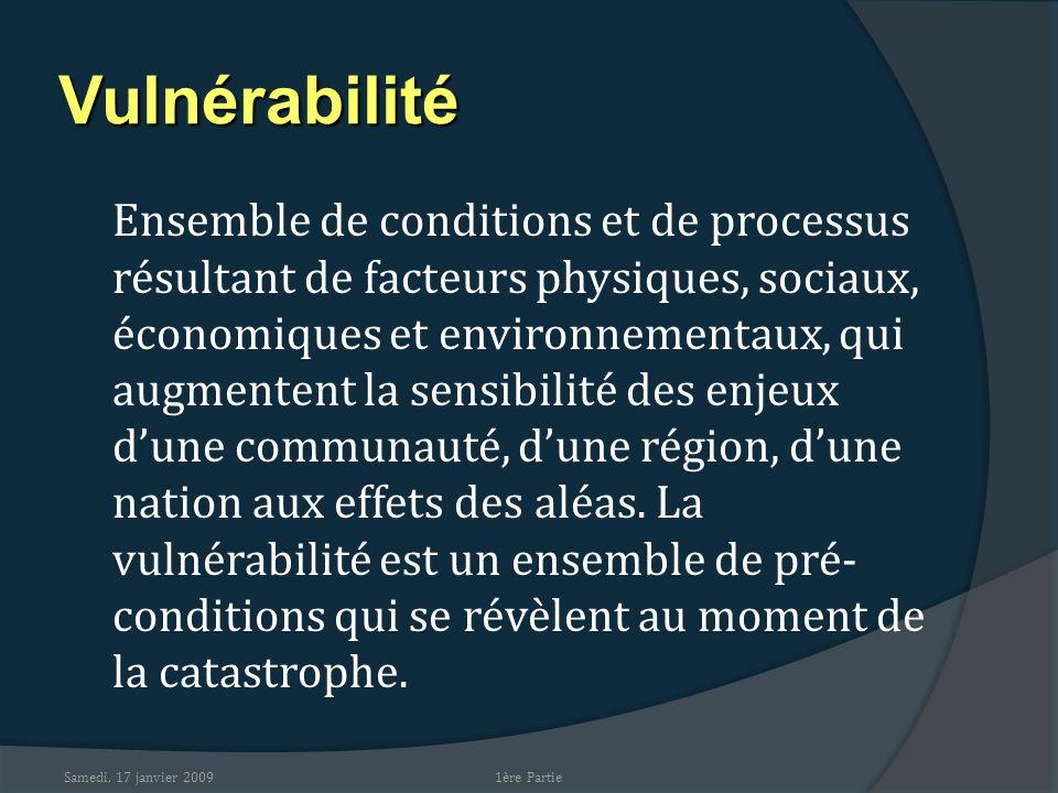 Samedi, 17 janvier 2009 Vulnérabilité Ensemble de conditions et de processus résultant de facteurs physiques, sociaux, économiques et environnementaux