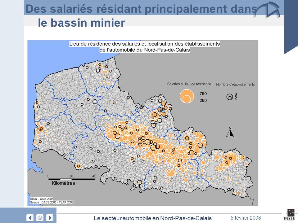 Page 22 Le secteur automobile en Nord-Pas-de-Calais 5 février 2008 Des salariés résidant principalement dans le bassin minier