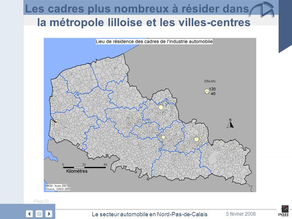 Page 23 Le secteur automobile en Nord-Pas-de-Calais 5 février 2008 Les cadres plus nombreux à résider dans la métropole lilloise et les villes-centres