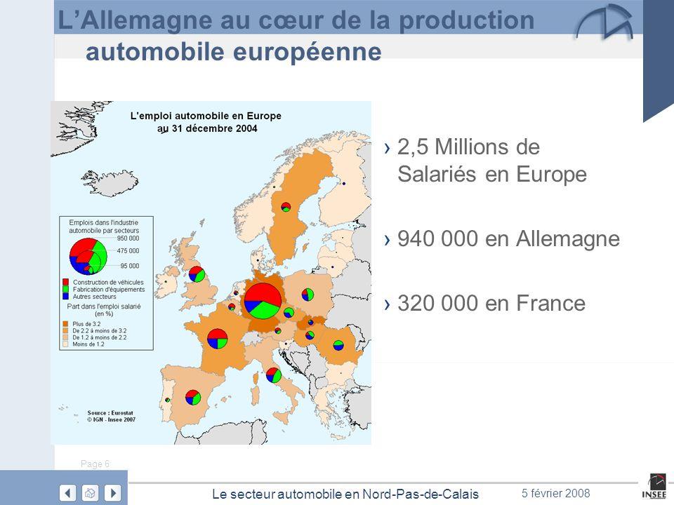 Page 6 Le secteur automobile en Nord-Pas-de-Calais 5 février 2008 LAllemagne au cœur de la production automobile européenne 2,5 Millions de Salariés e