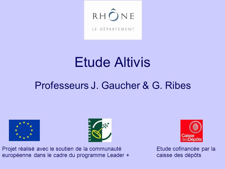 Etude Altivis Professeurs J. Gaucher & G. Ribes Projet réalisé avec le soutien de la communauté européenne dans le cadre du programme Leader + Etude c