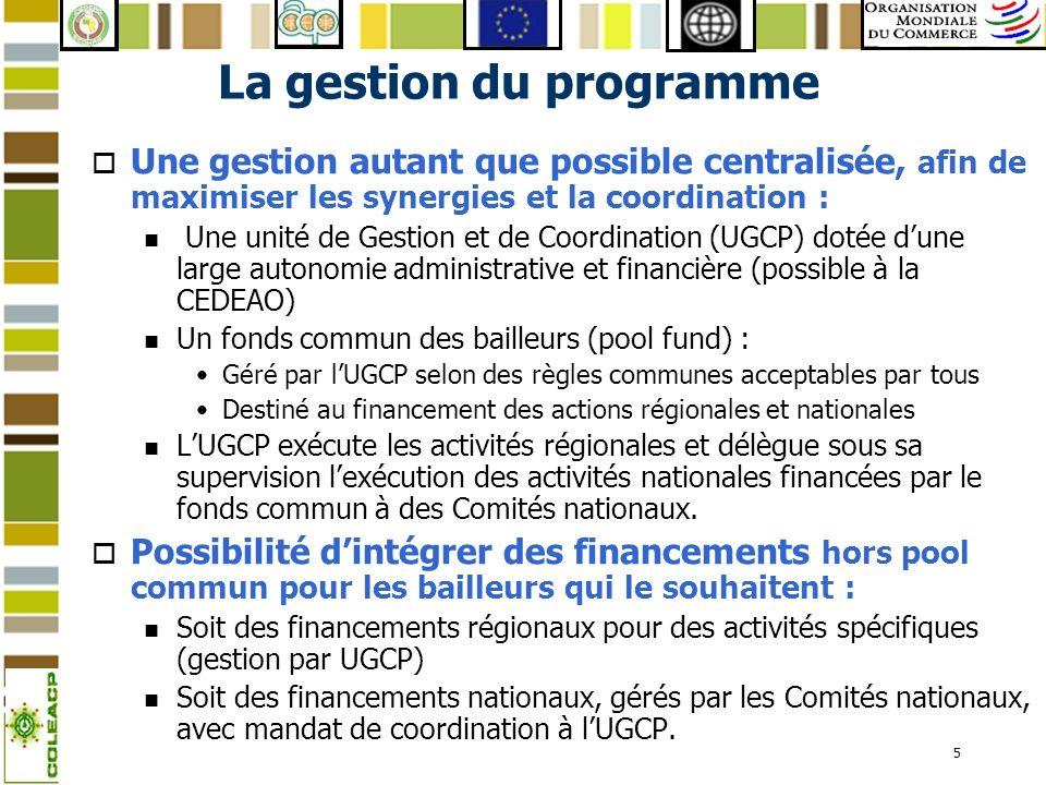 6 La mise en œuvre régionale (1) lUnité de coordination o Rôle : n Programmation (sous le contrôle du Comité de Pilotage), suivi/évaluation, monitoring (sous-traité) et coordination de lensemble du programme n Mise en œuvre des activités régionales.