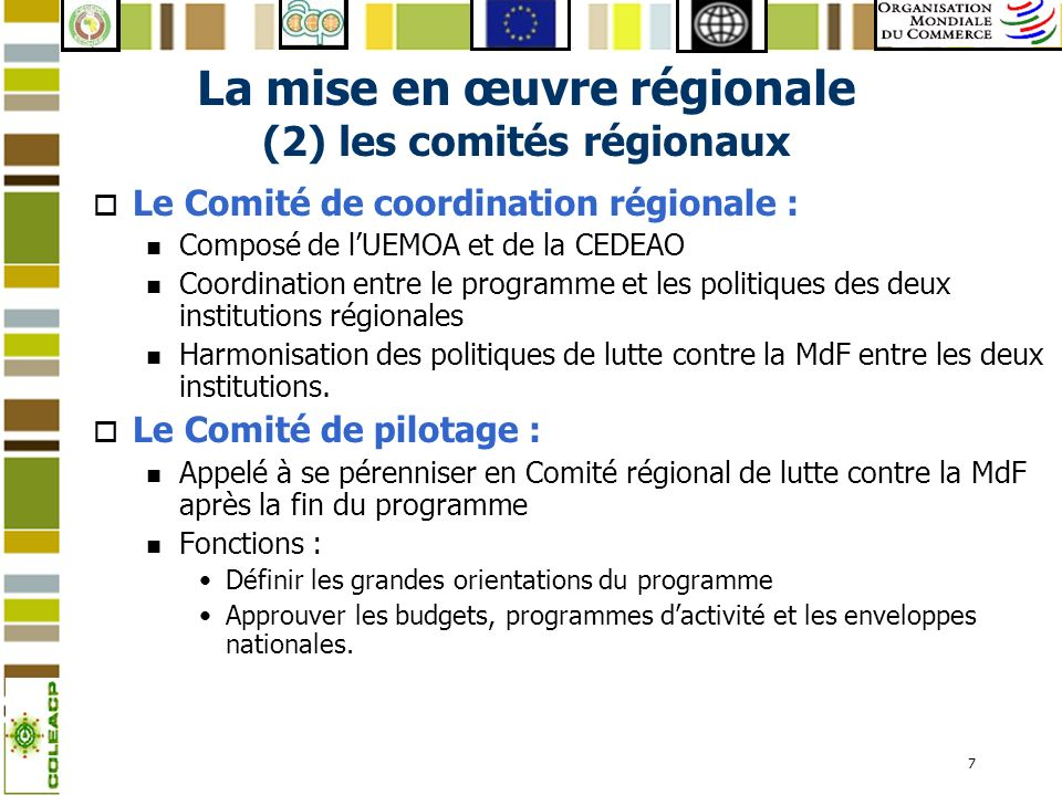 8 La mise en œuvre régionale (2) les comités régionaux (suite) n Composition : CEDEAO (présidence) et UEMOA (vice-présidence) 1 ou 2 représentants nationaux (désignés par les comités nationaux), selon limportance des activités Les bailleurs participants au programme Des institutions régionales compétentes (ROPPA, CORAF, CMA- AOC) Représentant filière horticole ACP / UE (COLEACP).