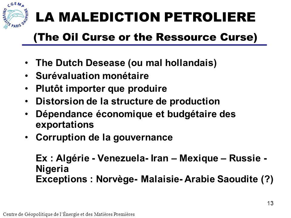 13 LA MALEDICTION PETROLIERE (The Oil Curse or the Ressource Curse) The Dutch Desease (ou mal hollandais) Surévaluation monétaire Plutôt importer que