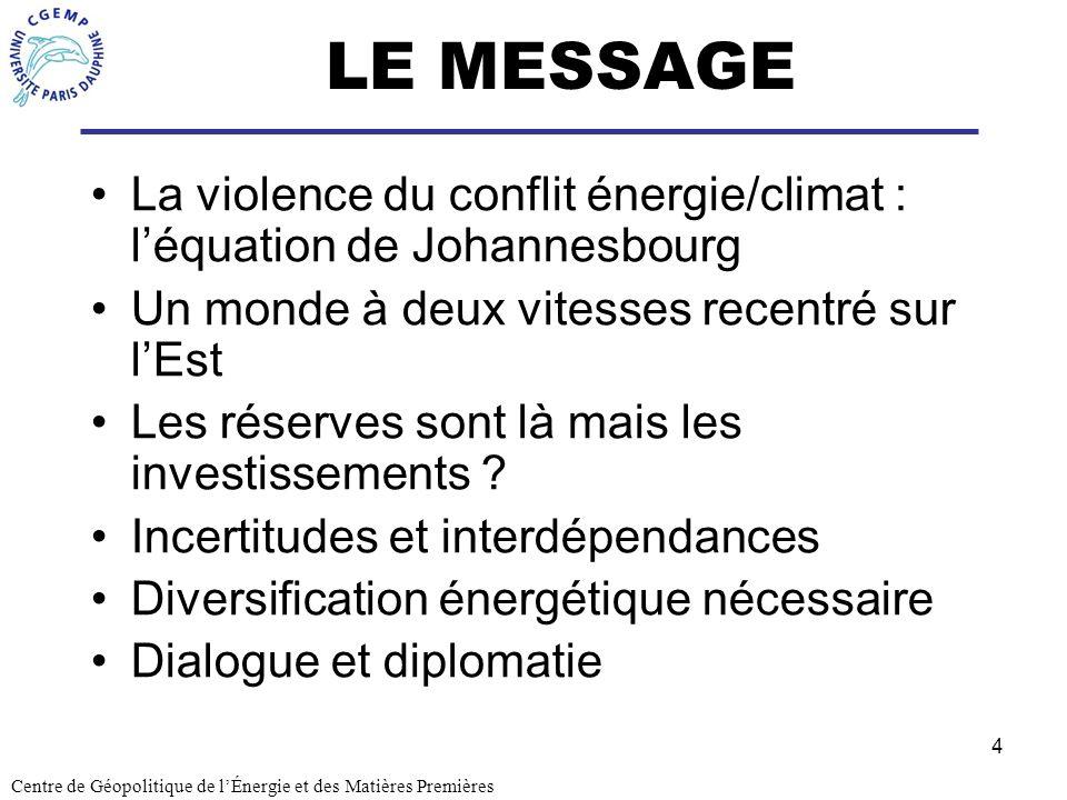 4 LE MESSAGE La violence du conflit énergie/climat : léquation de Johannesbourg Un monde à deux vitesses recentré sur lEst Les réserves sont là mais l
