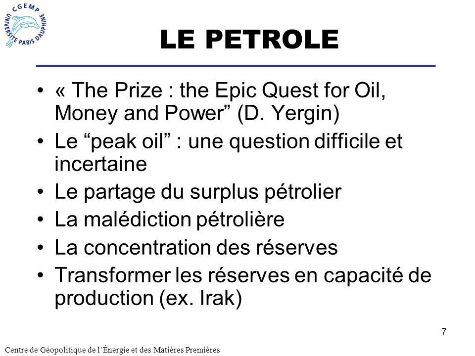 7 LE PETROLE « The Prize : the Epic Quest for Oil, Money and Power (D. Yergin) Le peak oil : une question difficile et incertaine Le partage du surplu