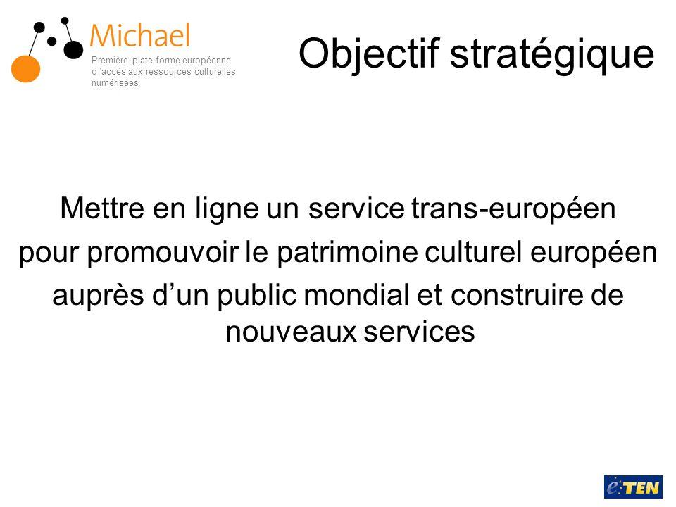 Objectif stratégique Mettre en ligne un service trans-européen pour promouvoir le patrimoine culturel européen auprès dun public mondial et construire