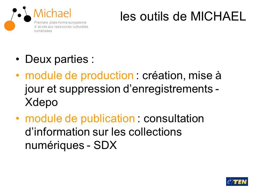 les outils de MICHAEL Deux parties : module de production : création, mise à jour et suppression denregistrements - Xdepo module de publication : cons