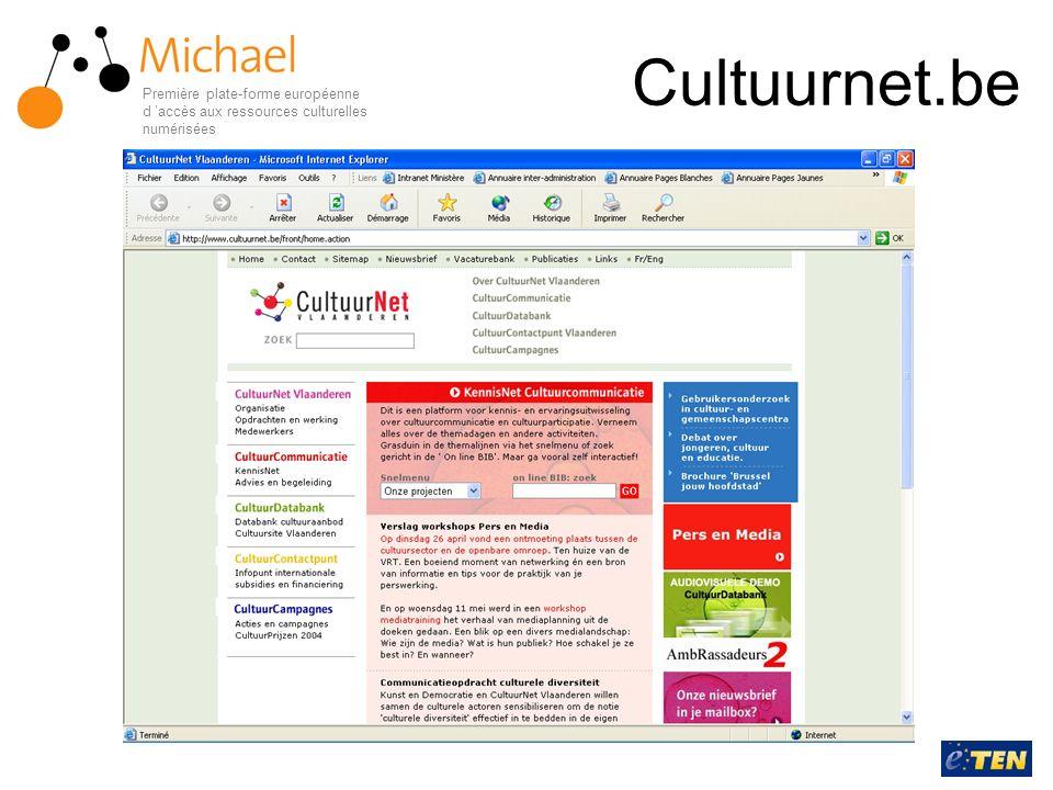 Cultuurnet.be Première plate-forme européenne d accès aux ressources culturelles numérisées
