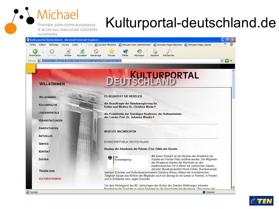 Kulturportal-deutschland.de Première plate-forme européenne d accès aux ressources culturelles numérisées