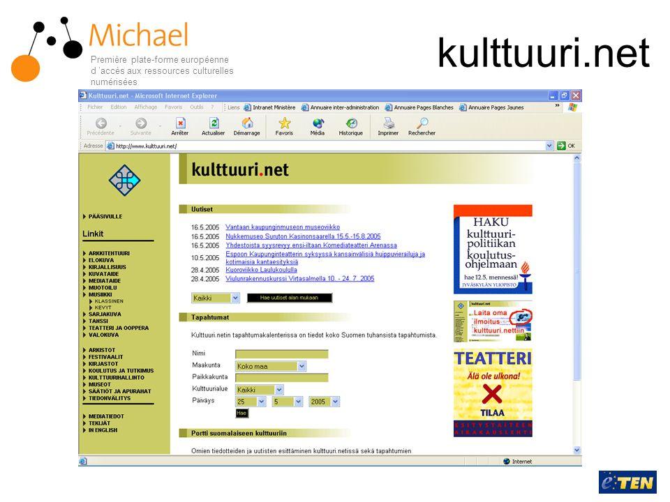 kulttuuri.net Première plate-forme européenne d accès aux ressources culturelles numérisées