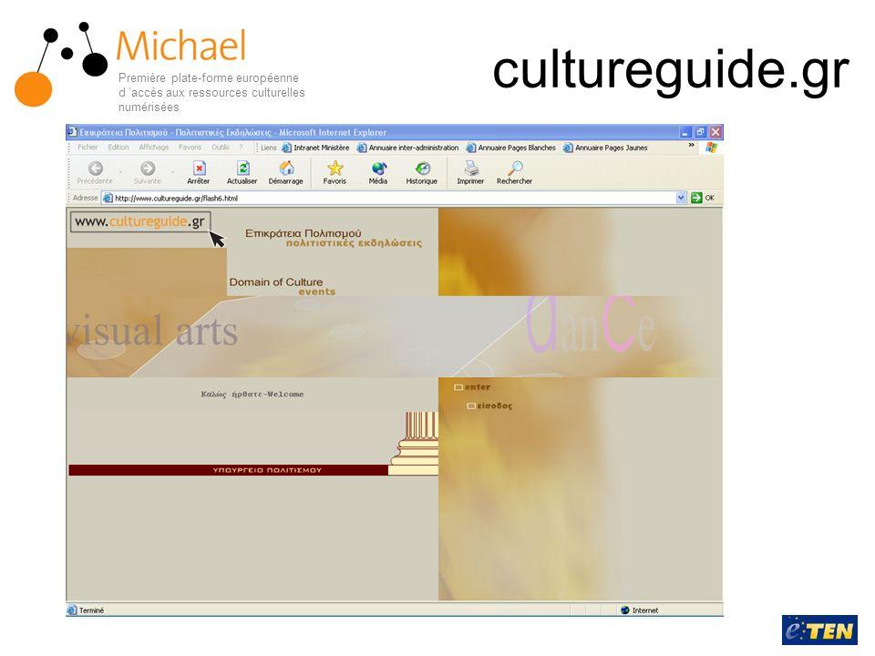 cultureguide.gr Première plate-forme européenne d accès aux ressources culturelles numérisées