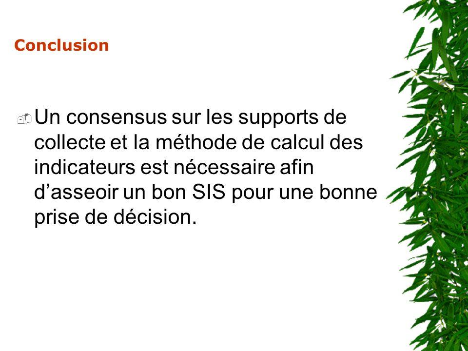 Conclusion Un consensus sur les supports de collecte et la méthode de calcul des indicateurs est nécessaire afin dasseoir un bon SIS pour une bonne pr