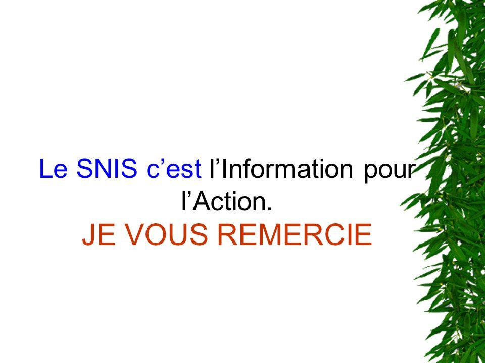 Le SNIS cest lInformation pour lAction. JE VOUS REMERCIE
