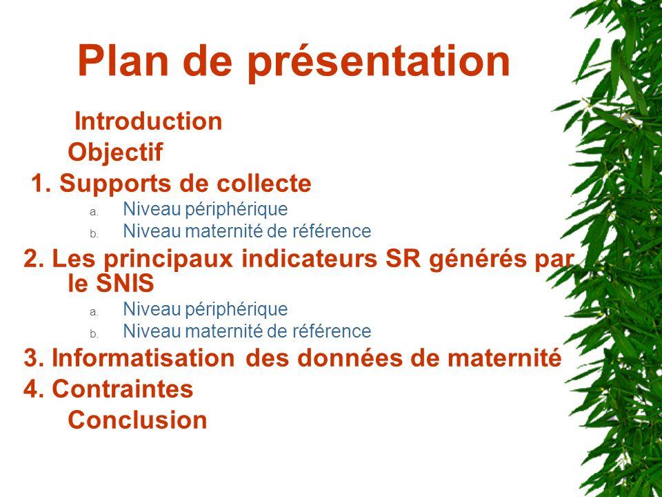 Plan de présentation Introduction Objectif 1. Supports de collecte a. Niveau périphérique b. Niveau maternité de référence 2. Les principaux indicateu