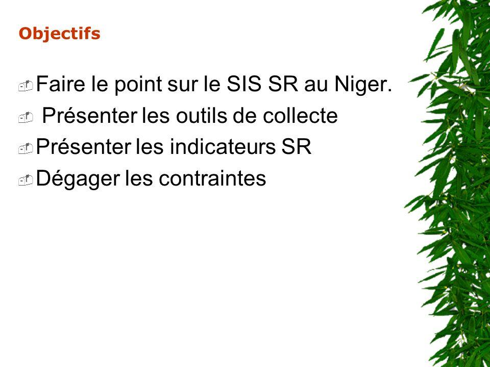 Objectifs Faire le point sur le SIS SR au Niger. Présenter les outils de collecte Présenter les indicateurs SR Dégager les contraintes
