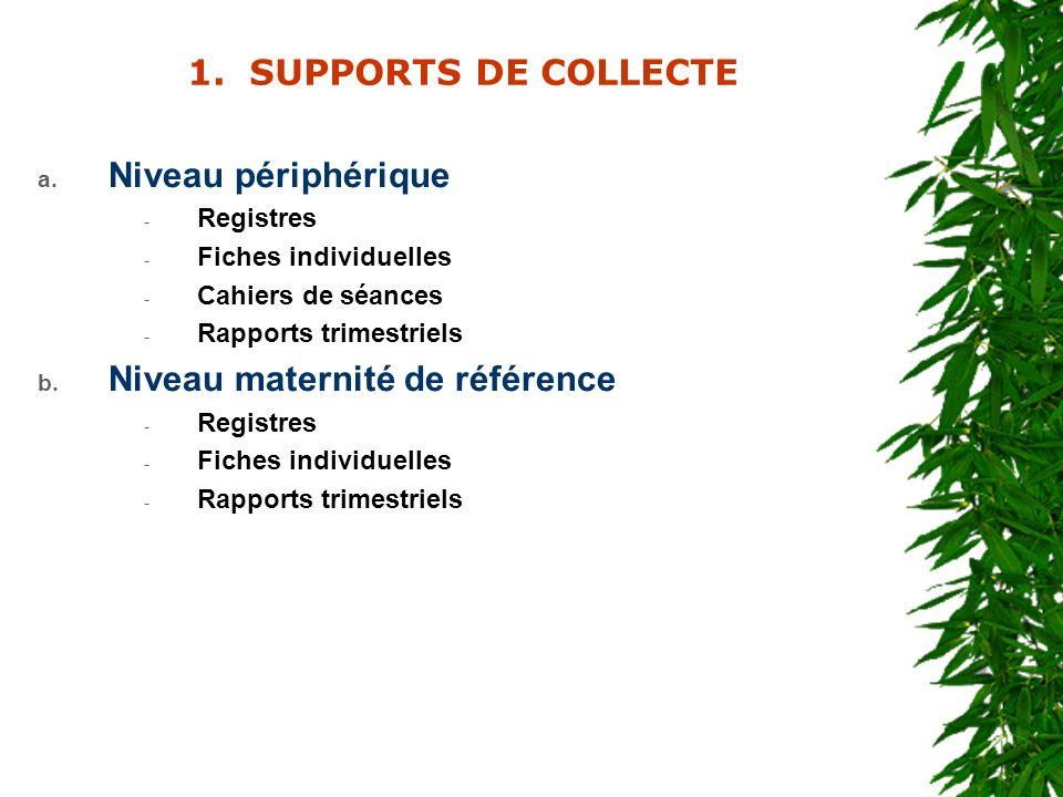 1. SUPPORTS DE COLLECTE a. Niveau périphérique - Registres - Fiches individuelles - Cahiers de séances - Rapports trimestriels b. Niveau maternité de