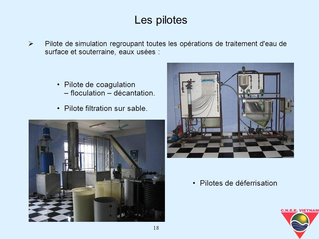 18 Pilote de simulation regroupant toutes les opérations de traitement d'eau de surface et souterraine, eaux usées : Les pilotes Pilote de coagulation