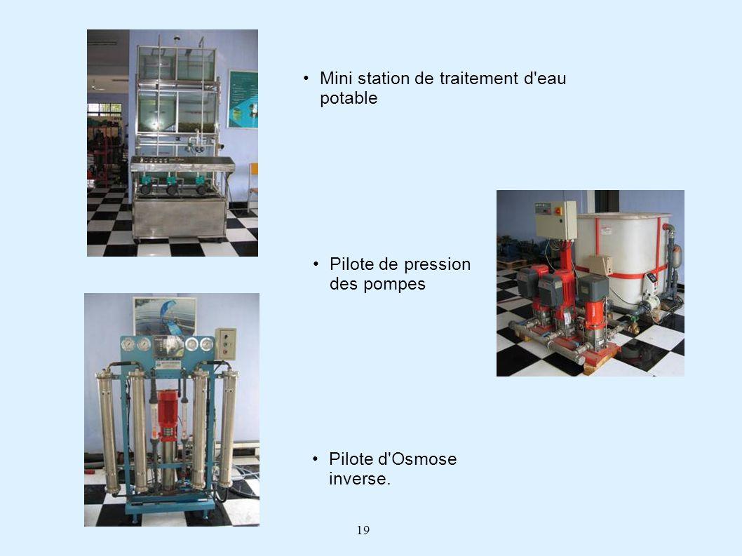 19 Pilote de pression des pompes Mini station de traitement d'eau potable Pilote d'Osmose inverse.