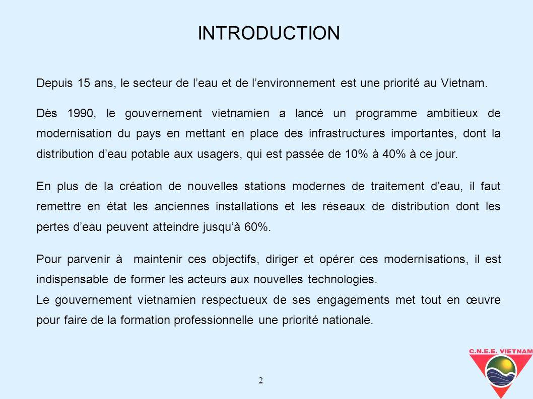 2 Depuis 15 ans, le secteur de leau et de lenvironnement est une priorité au Vietnam. Dès 1990, le gouvernement vietnamien a lancé un programme ambiti