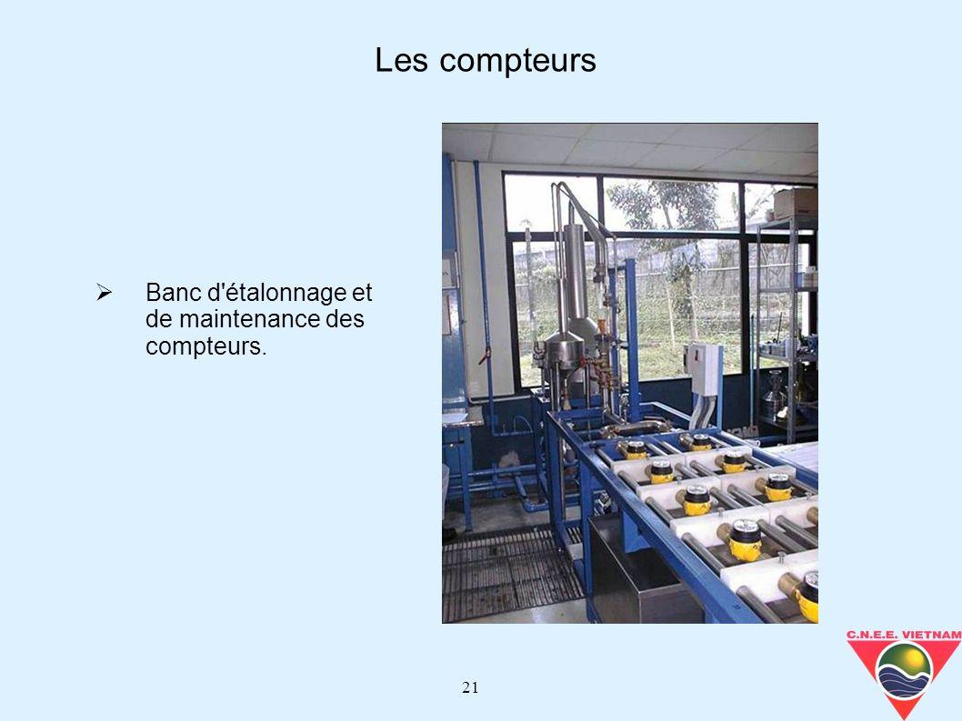 21 Banc d'étalonnage et de maintenance des compteurs. Les compteurs