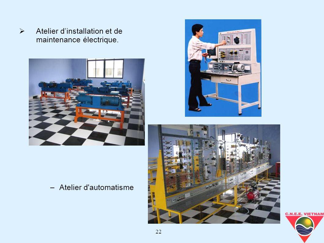 22 Atelier dinstallation et de maintenance électrique. –Atelier d'automatisme