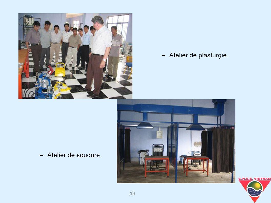 24 –Atelier de soudure. –Atelier de plasturgie.