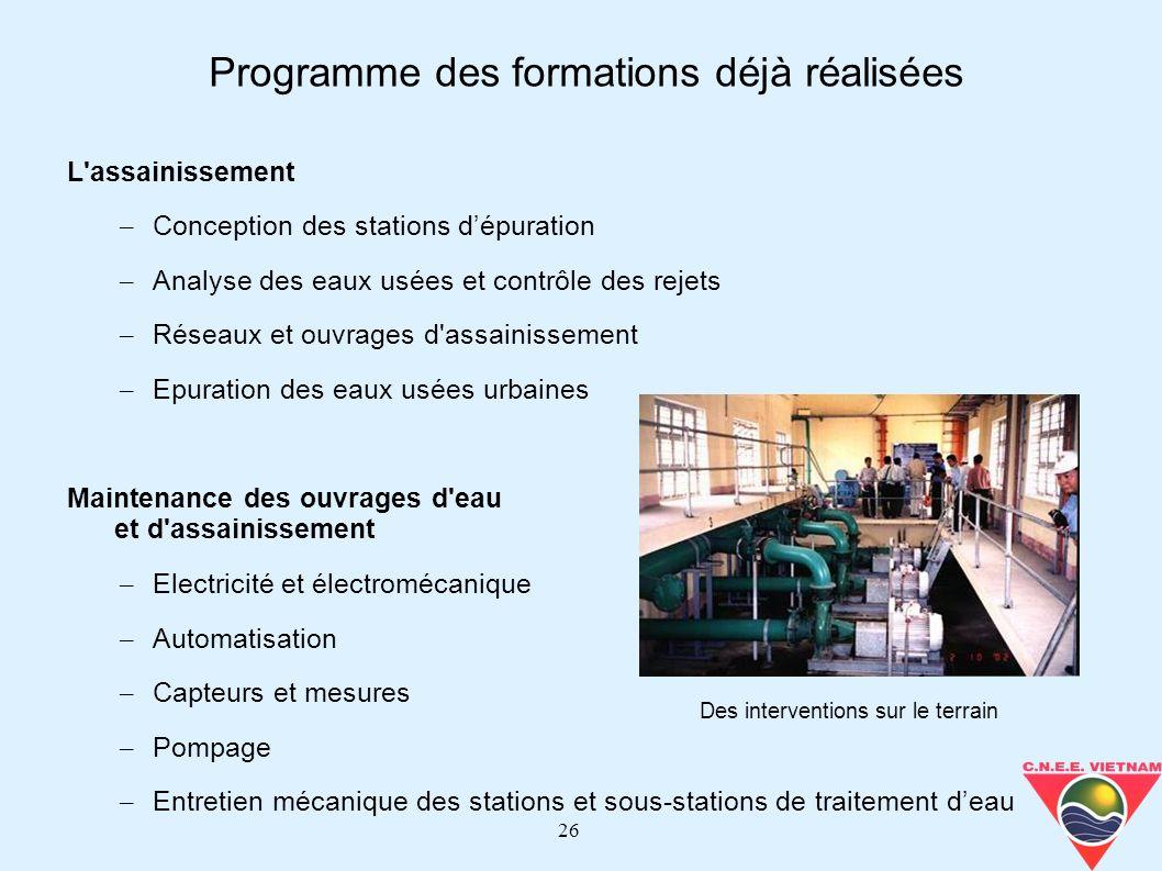 26 L'assainissement – Conception des stations dépuration – Analyse des eaux usées et contrôle des rejets – Réseaux et ouvrages d'assainissement – Epur