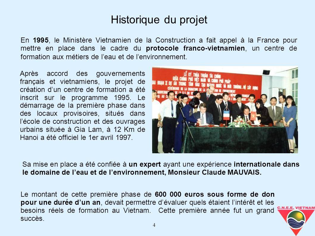 4 Après accord des gouvernements français et vietnamiens, le projet de création dun centre de formation a été inscrit sur le programme 1995. Le démarr