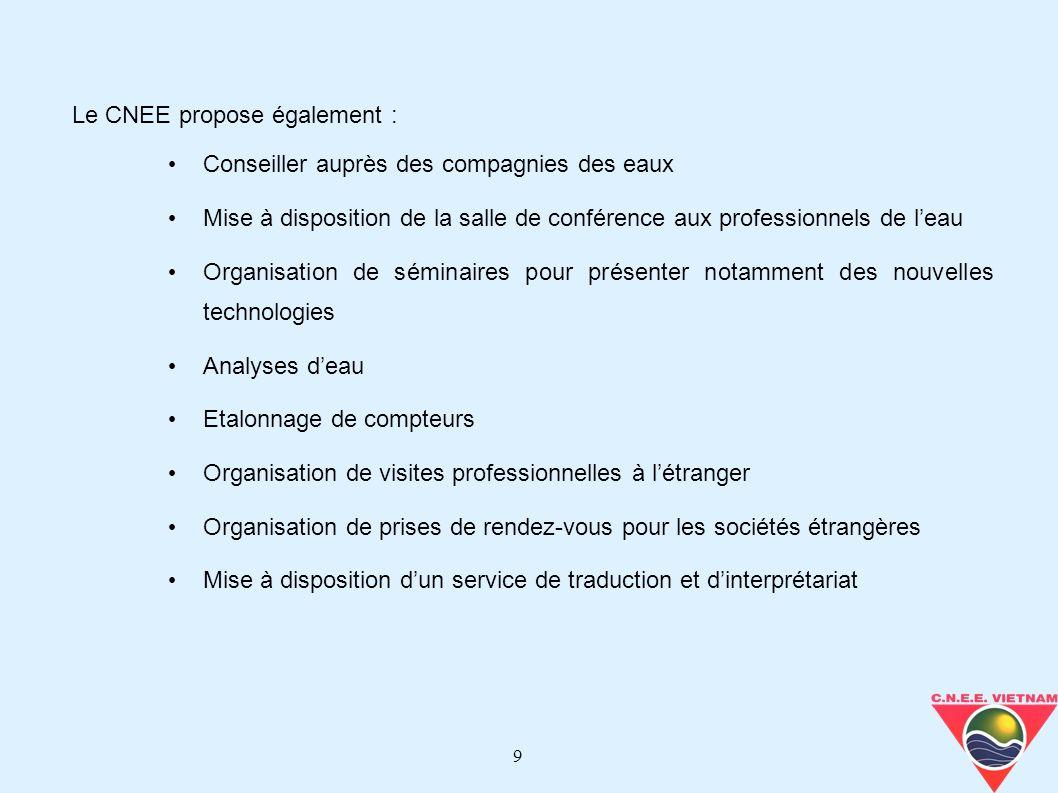 9 Le CNEE propose également : Conseiller auprès des compagnies des eaux Mise à disposition de la salle de conférence aux professionnels de leau Organi