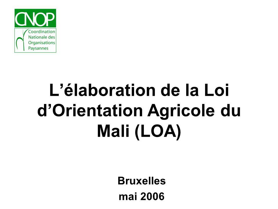 Présentation du processus délaboration de la LOA Attendue par tous les paysans maliens, la Loi dOrientation Agricole traduit la vision du Président de la République et a été élaborée en concertation avec tous les acteurs du secteur Agricole.