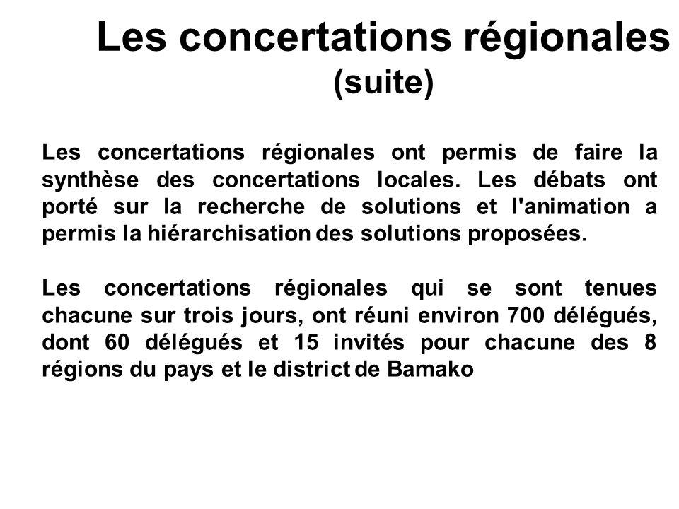 Les concertations régionales (suite) Les concertations régionales ont permis de faire la synthèse des concertations locales. Les débats ont porté sur