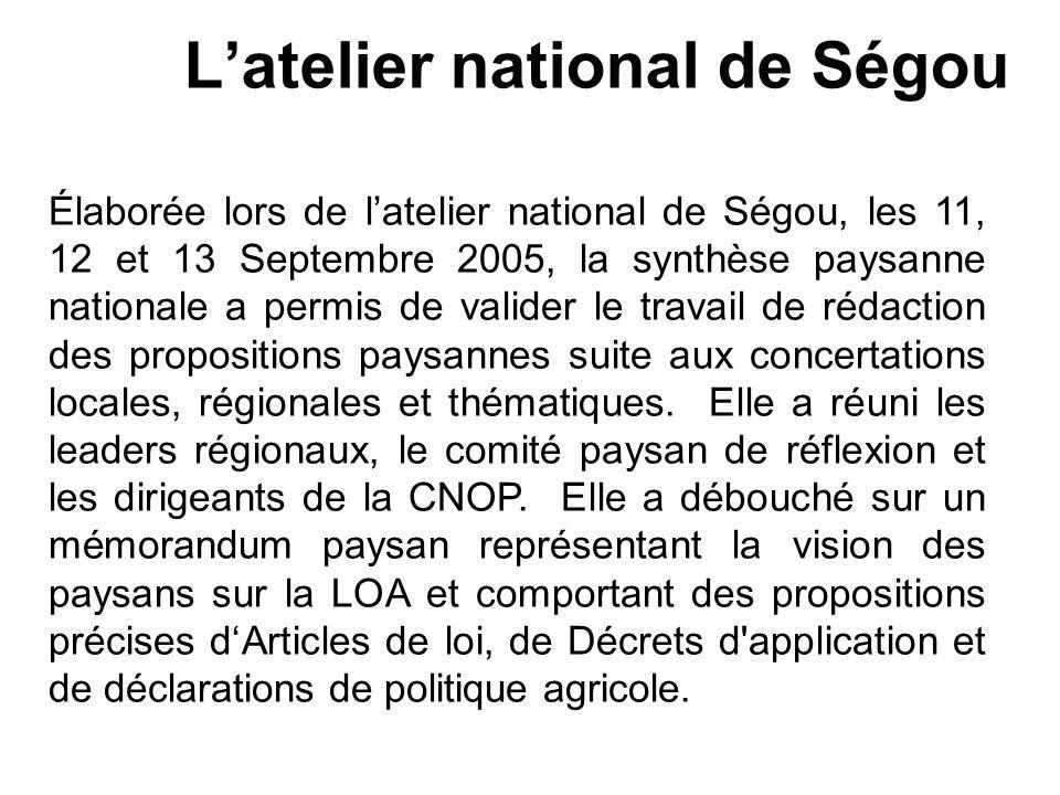 Latelier national de Ségou Élaborée lors de latelier national de Ségou, les 11, 12 et 13 Septembre 2005, la synthèse paysanne nationale a permis de va