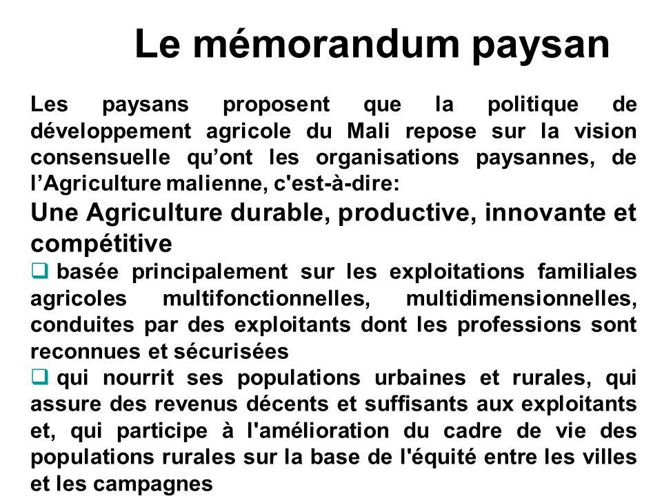 Le mémorandum paysan Les paysans proposent que la politique de développement agricole du Mali repose sur la vision consensuelle quont les organisation