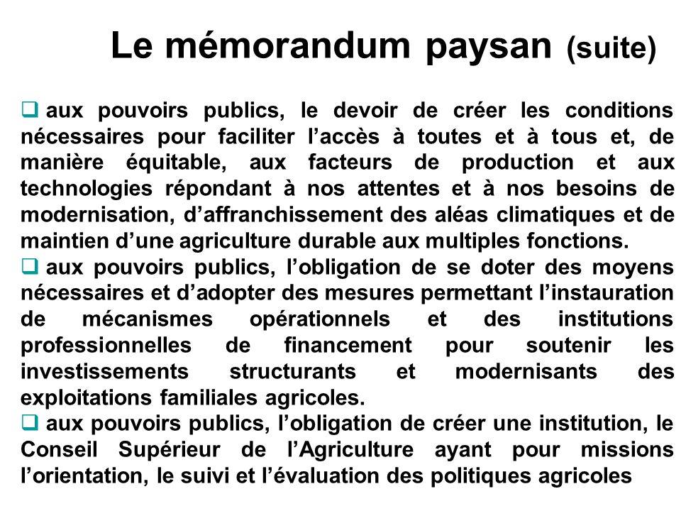 Le mémorandum paysan (suite) aux pouvoirs publics, le devoir de créer les conditions nécessaires pour faciliter laccès à toutes et à tous et, de maniè