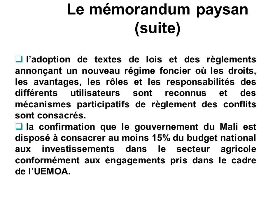 Le mémorandum paysan (suite) ladoption de textes de lois et des règlements annonçant un nouveau régime foncier où les droits, les avantages, les rôles