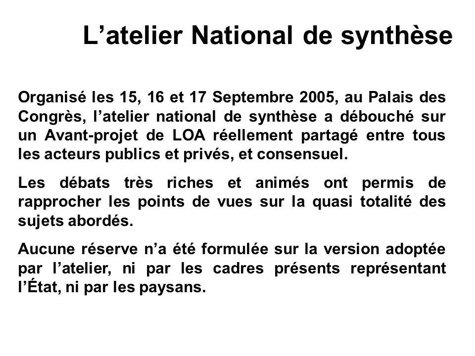 Latelier National de synthèse Organisé les 15, 16 et 17 Septembre 2005, au Palais des Congrès, latelier national de synthèse a débouché sur un Avant-p