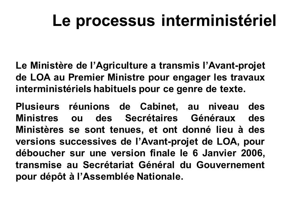 Le processus interministériel Le Ministère de lAgriculture a transmis lAvant-projet de LOA au Premier Ministre pour engager les travaux interministéri