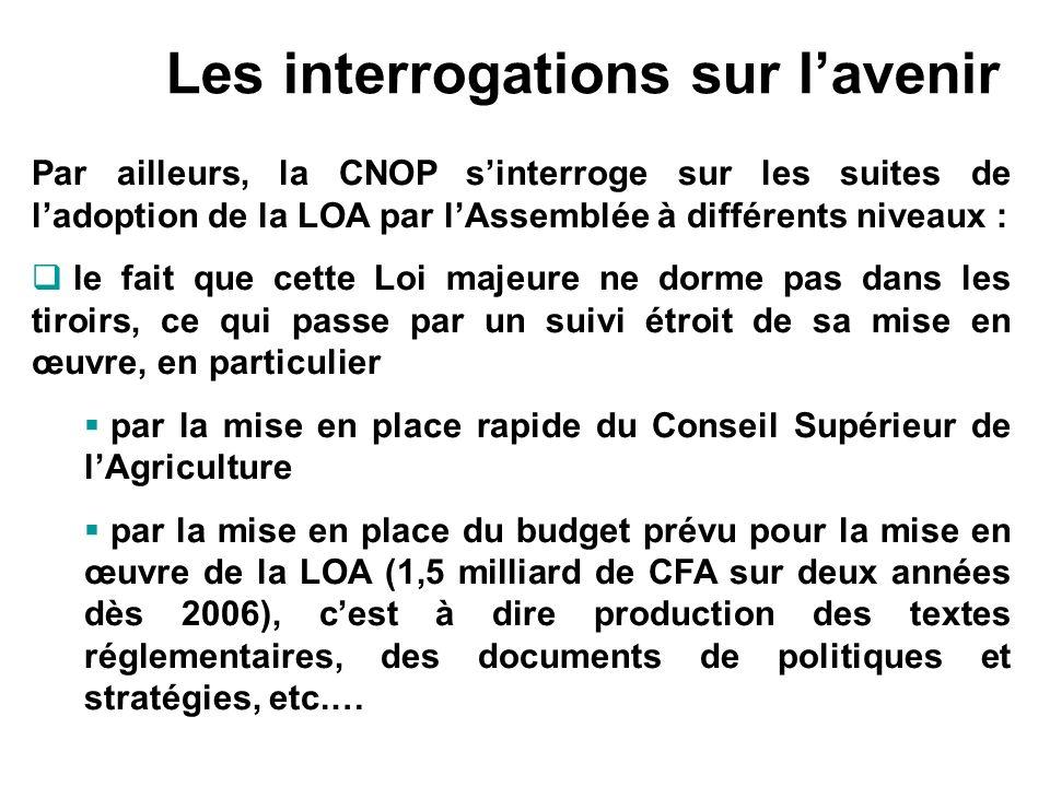 Les interrogations sur lavenir Par ailleurs, la CNOP sinterroge sur les suites de ladoption de la LOA par lAssemblée à différents niveaux : le fait qu
