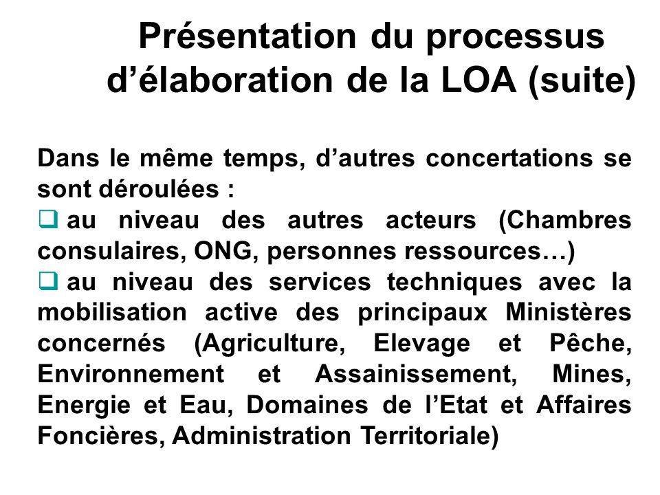 Présentation du processus délaboration de la LOA (suite) Dans le même temps, dautres concertations se sont déroulées : au niveau des autres acteurs (C