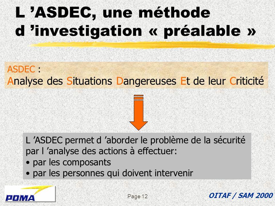 Page 11 è Pourquoi présenter une méthode pour lanalyse de la sécurité è LAMDEC, une méthode de contrôle a posteriori è LASDEC, une méthode dinvestigat