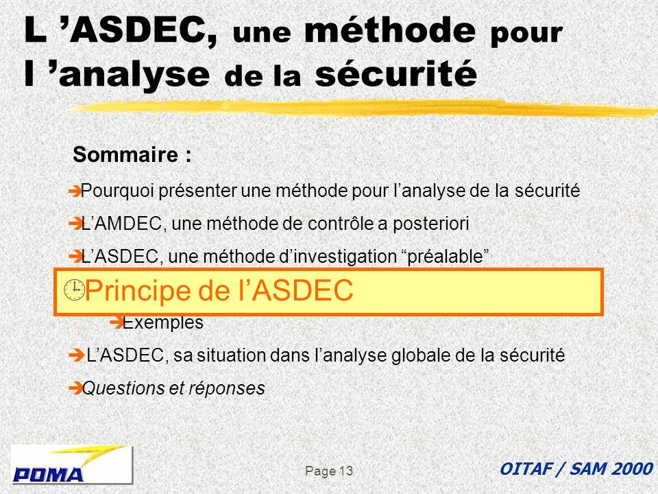 Page 12 L ASDEC, une méthode d investigation « préalable » ASDEC : Analyse des Situations Dangereuses Et de leur Criticité L ASDEC permet d aborder le